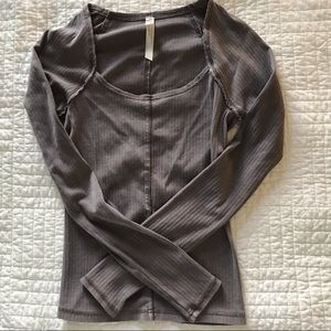 FREE PEOPLE LIGHT BROWN SQUARE NECK TOP